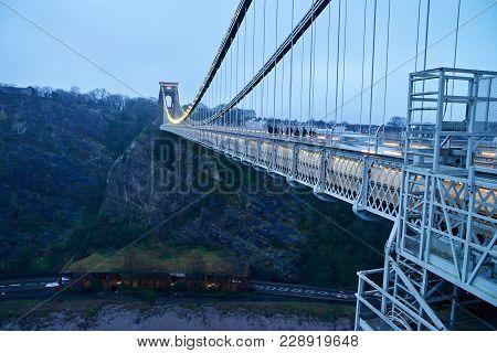 Bristol Clifton Suspension Bridge Over Avon River In United Kingdom.