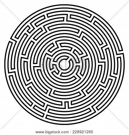 Labyrinth Icon. Maze Symbol. Isolated On White Background