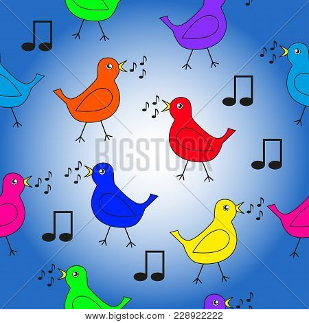 Seamless Texture On A Musical Theme With Colorful Singing Birds.