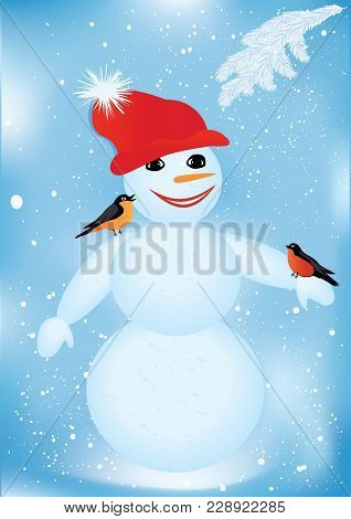 Snowman Funny, Cheerful - Two Bullfinches - Snowy Blue Background - Vector Art Illustration