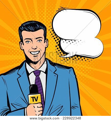 Live Report, News Concept. Journalist With Microphone In Hand. Pop Art Retro Comic Style. Cartoon Ve