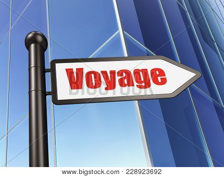 Tourism Concept: Sign Voyage On Building Background, 3d Rendering