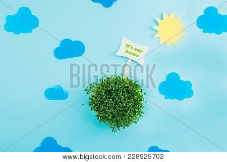 Top View Creative Collage Composition Of Paper Sun, Clouds, Pointer And Fresh Green Sprouts In Round