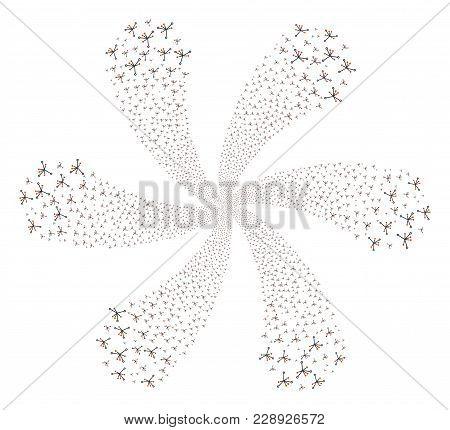 Big Bang Cycle Flower Cluster. Element Cluster Done From Random Big Bang Items. Vector Illustration