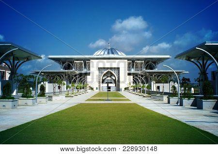 View Of The Iron Mosque Masjid Tuanku Mizan Zainal Abidin In The Planned City Of Putrajaya, Malaysia
