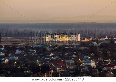 Aerial View Of Common City Residential Private Homes In Evening. Ivano Frankivsk City, Ukraine.real