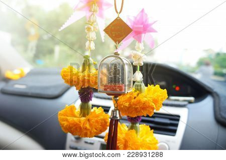 Bangkok,thailand- February 22, 2018 :several Cars Usually Have A Miniature God Hung In A Car. They B