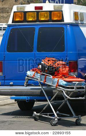 Paramedics car arrives at the scene