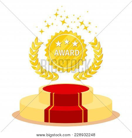 Red Carpet And Film Festival Award. Flat Vector Cartoon Red Carpet Illustration. Objects Isolated On
