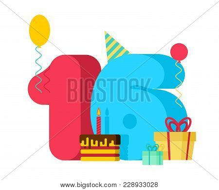 16 Year Birthday Sign. 16th Template Greeting Card Anniversary Celebration. Sixteen Number And Festi