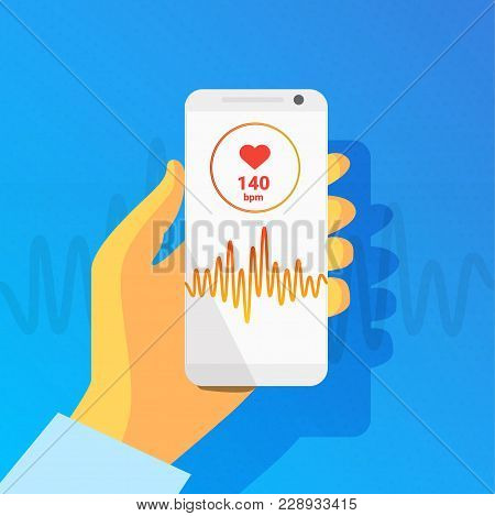 Health App On Smartphone Screen With Pulse Rhythm. Healthcare, Medical App, Health Monitoring Concep