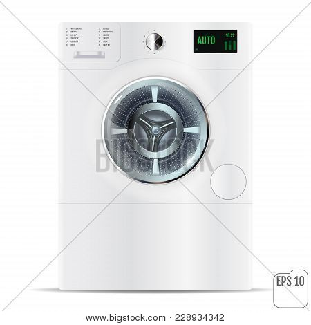 Washing Machine On White Background. 3D. Closed Front Load White