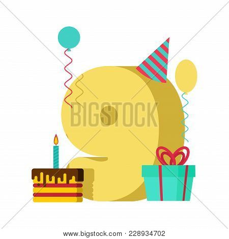 9 Year Greeting Card Birthday. 9th Anniversary Celebration Template. Nine Number And Festive Piece O