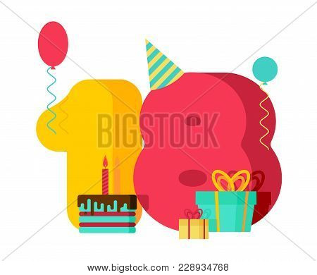 18 Year Birthday Sign. 18th Template Greeting Card Anniversary Celebration. Eighteen Number And Fest