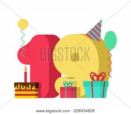 19 Year Birthday Sign. 19th Template Greeting Card Anniversary Celebration. Nineteen Number And Fest