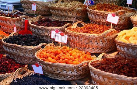 Organic Different Types Of Dried Or Candied Fruits At A Street Market In Istanbul, Turkey.