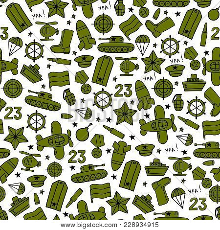 Defenders Day Military Seamless Vector Pattern On White Background. Russian National Holiday On 23 F