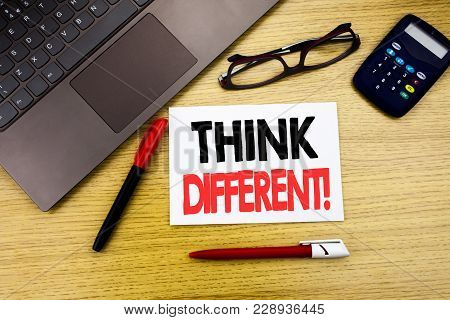 Handwritten Text Caption Showing Think Different. Business Concept Writing For Outside Box Creative