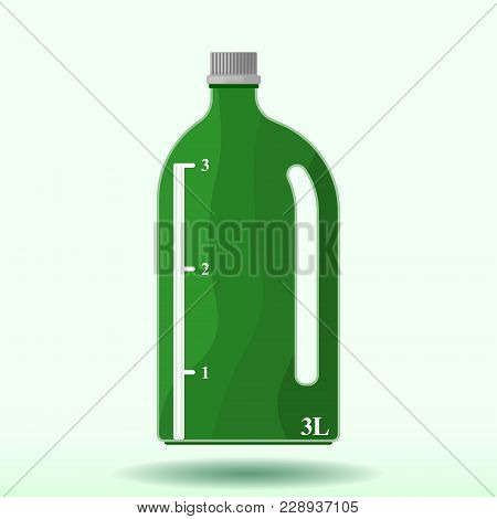 Vector Image Of A Plastic Bottle With A Measuring Scale Of Three Liters. Pattern With A Shadow From