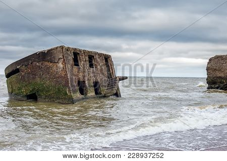 Old Demolished Military Forts. Abandoned Fortifications At Baltic Sea Coast In Liepaja Latvia