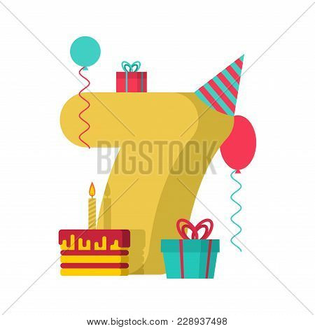 7 Year Happy Birthday Greeting Card. 7th Anniversary Celebration Template. Seven Number And Festive