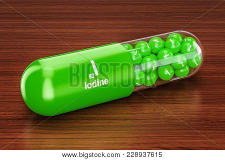 Capsule With Iodine I Element On The Wooden Table. 3d Rendering