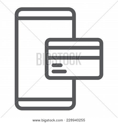 Credit Card On Smartphone Line Icon, E Commerce And Marketing, Online Payment Sign Vector Graphics,
