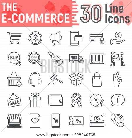 E Commerce Line Icon Set, Online Store Symbols Collection, Vector Sketches, Logo Illustrations, Inte