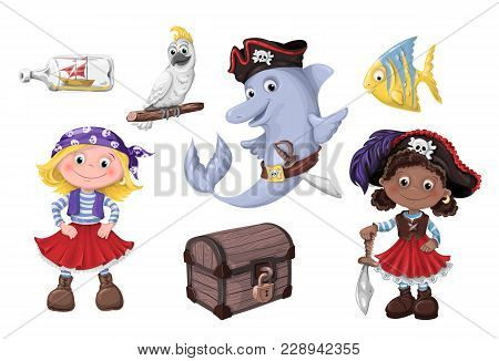Set Cute Cartoon Girl Pirate Vector Illustration. Kids Pirates.