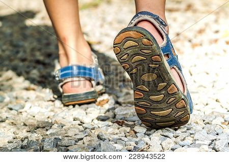 Close-up Of Sport Shoes On Trail Walking In Mountains On Stones, Outdoors Activity