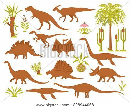 Dino Mesozoic Era Flora Set With Flat Isolated Images Of Prehistoric Plants And Various Dinosaur Spe
