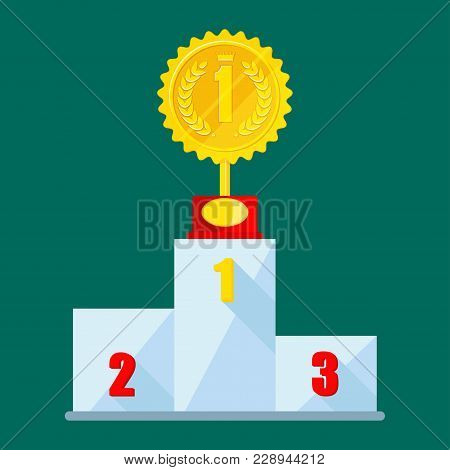 Winner Podium, Champion Place. First, Second And Third Place In The Competition. Flat Vector Cartoon
