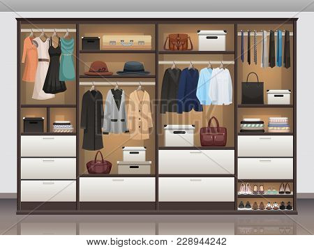 Bedroom Wardrobe Closet Storage With Interior Organizers Shoe Racks And Hanging Rails For Clothes Re
