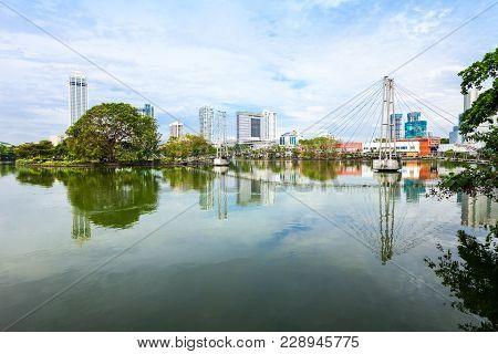 Beira Lake And Colombo City Skyline. Beira Lake Is A Lake In The Center Of The Colombo In Sri Lanka.