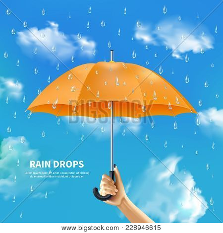 Rain Drops Realistic Poster With People Hand Holding Open Orange Umbrella On Cloudy Sky Background V