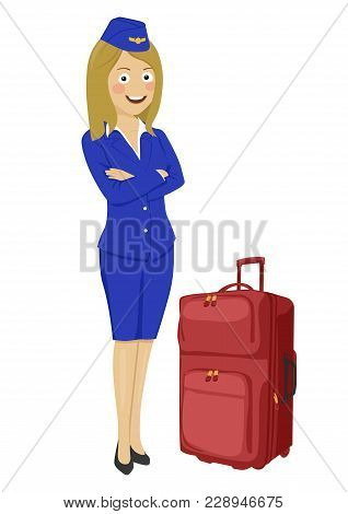Young Beautiful Air Hostess With Suitcase Isolated On A White Background