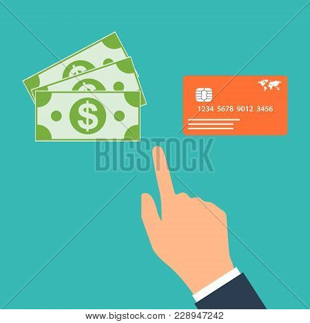 Choose Between Cash And Credit Card. Business Concept Design.