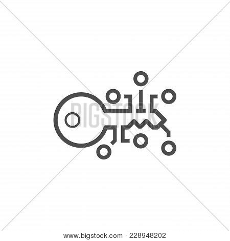 Encryption Key Icon. Modern Computer Network Technology Sign. Digital Graphic Symbol. Concept Design