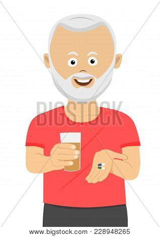 Senior Man Taking His Pills Holding A Glass Of Water