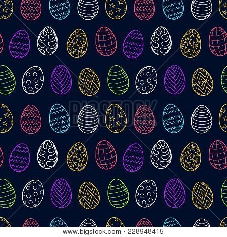 Easter Eggs Pattern. Spring Holiday Symbols. Egg Sketch. Holiday Decoration. Kids Drawing. Easter Or