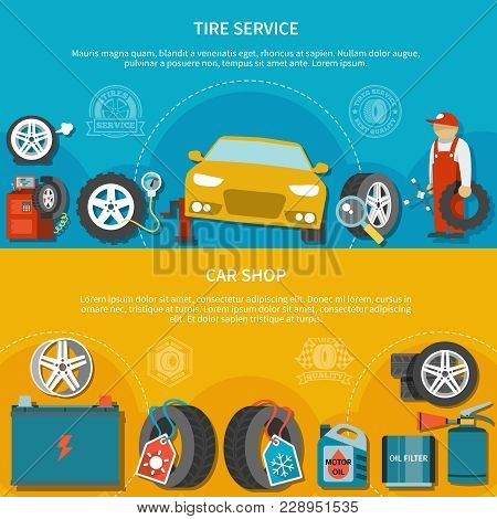 Colorful Set Of Two Horizontal Banners With Car Shop And Mechanic Repairing Vehicle At Tire Service
