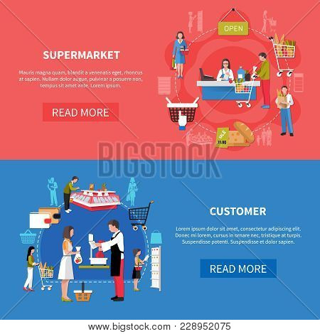 Supermarket Banners On Blue Red Background With Customers At Cash Desk, During Weighing Goods Isolat