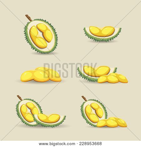 Halves Of An Exotic Durian Fruit On A Light Background. Mature Durian Fruit Or A Smelly Fruit Called