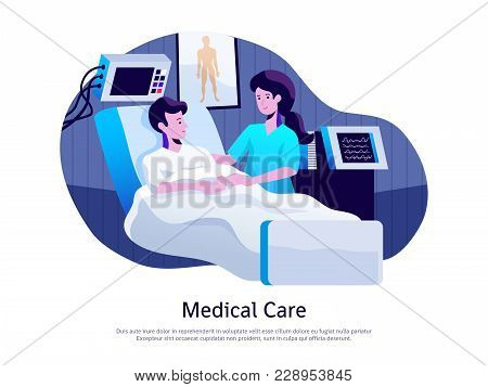 Medical Care Poster With Doctor Attending Patient In Intensive Care Unit With Life Support Equipment