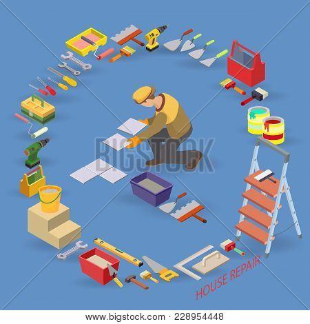 Home Repair Isometric Template. Installing Tiles. Repairer Is Laying Tile. Builder In Uniform Holds