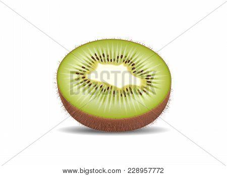 Kiwi Fruit Cut In Half Slices. High Quality Natural Eco Organic Ecological Fruit For Juice, Yogurt,