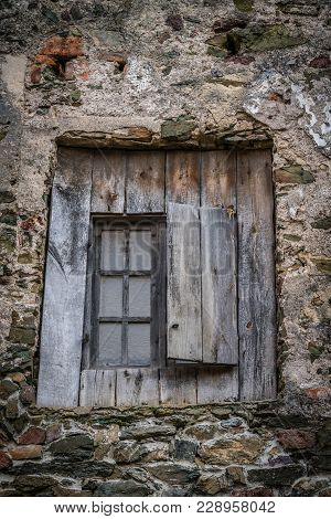 Old Wooden Window In The Thick Walls Of The Medieval Bolkow Castle In Lower Silesia, Poland