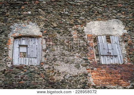 Old Wooden Windows In The Thick Walls Of The Medieval Bolkow Castle In Lower Silesia, Poland