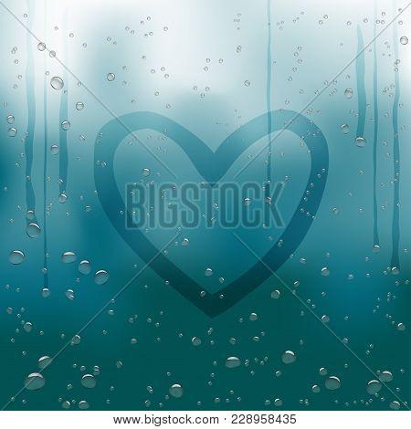 Drawn Heart Painted On Rainy Window. Water Drops Flow Down On Dark Blue Bokeh Background. Romance Lo