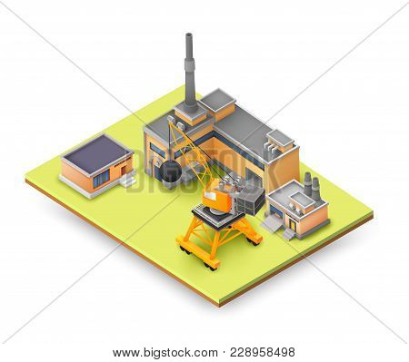 Factory Objects Design Concept On Yellow Panel With Industrial Constructions, Colored Buildings, Lif